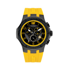 CAT Navigo Chrono series watch in gun metal with black band and black and yellow face plus free gift
