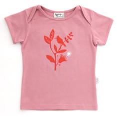 Bird branch t-shirt in dusty pink