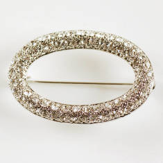 Vintage Style Oval Diamante Brooch