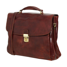 Paris leather briefcase with trolley insert in mahogany