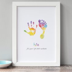 Personalised rainbow hand & foot print