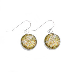 Sterling silver and glass earrings in gold sparkles