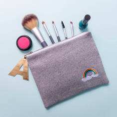 Rainbow Personalised Make Up Zip Pouch Clutch