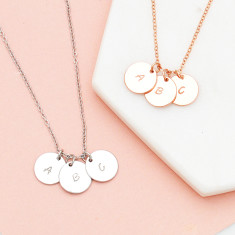 Personalised hand stamped initial discs necklace in rose gold or silver
