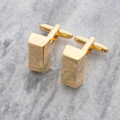 Gold bar stainless steel cufflinks