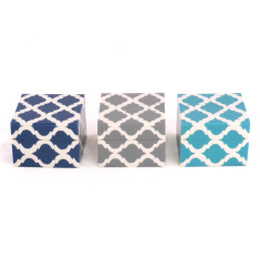 Mogul resin boxes in turquoise, navy & grey (set of 3)