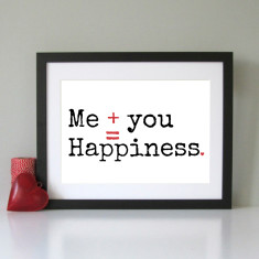 Me + you = happiness modern art print