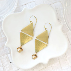 Raw vintage brass and Czech glass triangle drop earrings