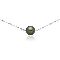 Swarovski floating pearl necklace in scarabaeus green