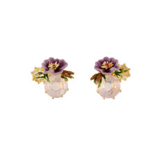 Purple Flower and White Stone Earrings
