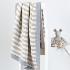 Joey knitted cotton stripe baby blanket (various colours)