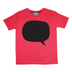 Kids' chalkboard t-shirt in red speech bubble design