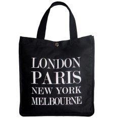 London, Paris, New York, Melbourne black tote
