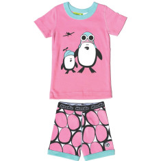 Penguins in flight short john set in pink
