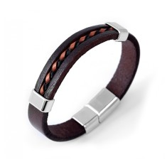 Men's brown leather & stainless steel bracelet
