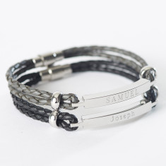 Men's personalised leather identity bracelet