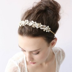Bridal crystal pearl headband