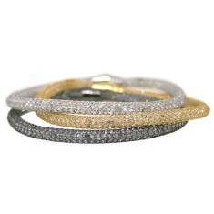 Set of 3 sterling silver mesh bracelets in silver, gold and black rhodium