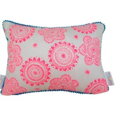Messy posey cushion cover in fluro pink ink on white linen/cotton with aqua mini pom pom trim