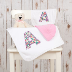 Personalised Liberty Letter Baby Gift Set
