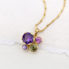 Sapphire and Amethyst Flower Pendant in 18ct Yellow Gold