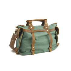 Canvas weekend holdall bag with leather handle (Green/Grey)
