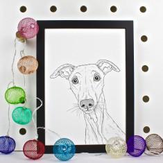 Whippet Dog Line Portrait Print