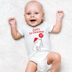 Personalised First Christmas Bear Baby Grow