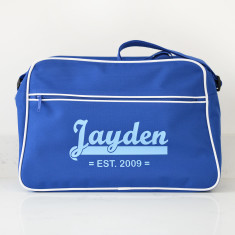 Personalised Blue Retro Shoulder Bag With Name