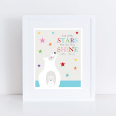 Stars shine polar bear art print