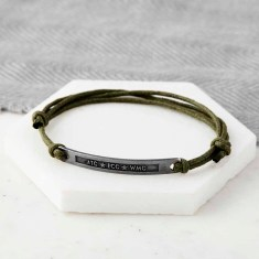 Personalised Oxidized Sterling Silver Initials Message Bracelet