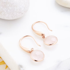 Sofia Gemstone Drops With Rose Quartz