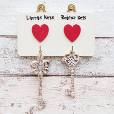 Personalised Two Heart Key Hook Plaque
