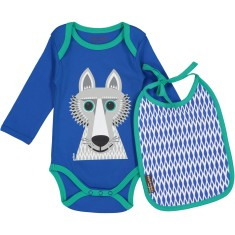 Wolf onesie and bib set