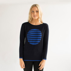 Merino Spliced Spot Crew Sweater - French Navy & Cobalt Blue