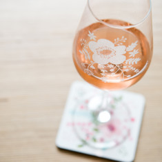 Floral Wine Glass