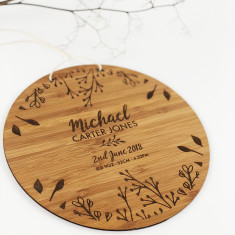 Personalised Botanical Circle Birth Details Wall Hanging