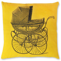 Vintage Pram linen cushion cover