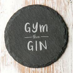 Gym Then Gin Slate Drinks Coaster