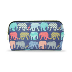 Elephants & Flamingos Vegan Leather Small Make Up & Cosmetic Bag