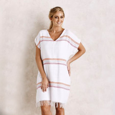 Cala Rossa tunic in white & fuchsia