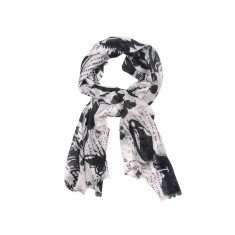 My Softest Cotton Scarf: White Navy Butterflies