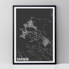 Darwin map print (various colours)