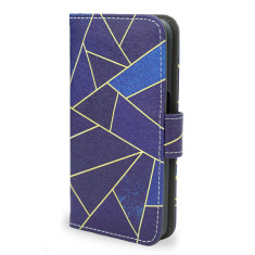Blue Stone Geometric Smartphone Wallet Case