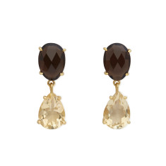 Citrine and Smokey Quartz Earrings