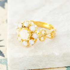 Moonstone Flower Ring In Gold Plate