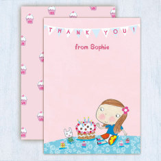Personalised girl's thank you cards (set of 8)