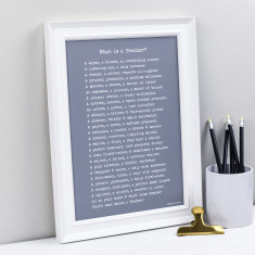 Personalised teacher poem print