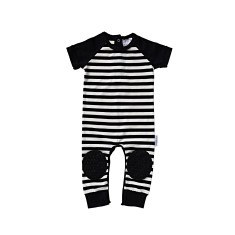 Black Stripe Short Sleeve Crawl-suit