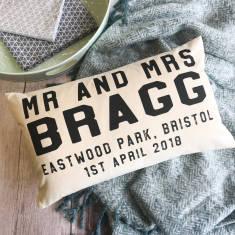 Personalised Mr And Mrs Wedding Boudoir Cushion